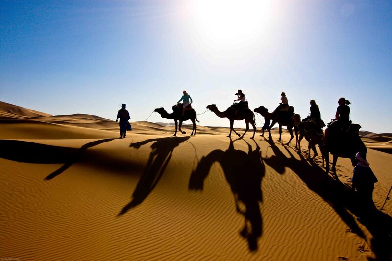 Camel ride in the dunes of Morocco